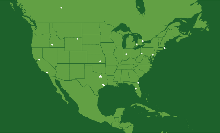 Map showing our locations in United States